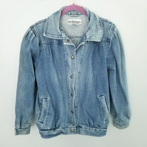 {Vintage} Blue Denim Jacket Pleated Shoulders Sz L